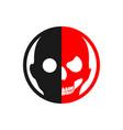 half face halloween skull symbol design vector image vector image