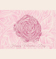 hand drawn pink rose lines design for valentines vector image