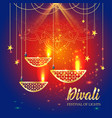 happy diwali festival of lights retro oil gold vector image