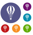 hot air striped balloon icons set vector image vector image