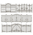 iron gate and fence design with different vector image