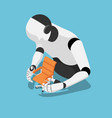isometric ai robot protecting office chair vector image