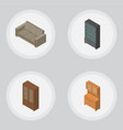 isometric furniture set of cupboard sideboard vector image vector image