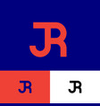 j and r monogram consist orange letters vector image vector image