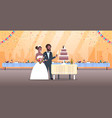 just married man woman cutting sweet cake romantic vector image vector image