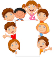 kids with blank sign vector image vector image