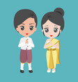 male and female dress in thai traditional costume vector image vector image