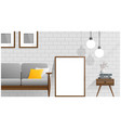 mock up poster frame in living room vector image vector image