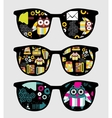 Retro sunglasses with cute owls reflection in it vector image vector image