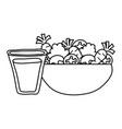 salad vegetables with beverage healthy food vector image