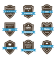 Set of 9 vintage badges Shields with ribbons Sale vector image