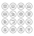 set round line icons of railroad vector image