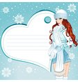 sexy winter girl greeting card vector image