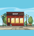 shop store with windows greenery lanterns vector image vector image