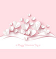 valentine day background white paper heart vector image vector image