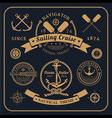 vintage nautical labels set on dark background vector image