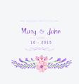 Wedding invitation watercolor Beautiful floral vector image vector image