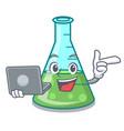 with laptop science beaker character cartoon vector image