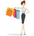 Woman hanging shopping bags on her arm vector image
