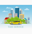 yellow taxi cab on city vector image vector image