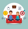 young couple practicing yoga on the sofa vector image vector image