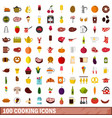 100 cooking icons set flat style vector image vector image