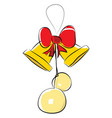 a golden bell with hanging balls and a red vector image