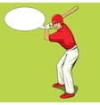 Baseball player with bat pop art style vector image vector image