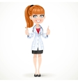 Beautiful girl doctor in a white medical coat vector image vector image