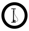 bicycle pump black icon in circle vector image