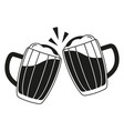 black and white two beer mug silhouette vector image vector image