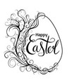 black white greeting card with egg scroll vintage vector image vector image