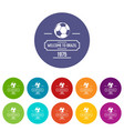 brazil football icons set color vector image vector image