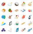 breakfast with tea icons set isometric style vector image