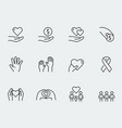 charity donation and volunteering icon set vector image vector image