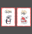 christmas cards with penguin and holly jolly kitty vector image vector image