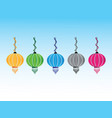 colorful asian and chinese lamps vector image