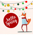 cute cartoon fox in spring time vector image vector image