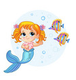 cute pretty mermaid and fishes cartoon vector image