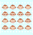 emoticons emoji smiley set colorful sweet vector image vector image