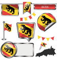 glossy icons with flag of bern vector image vector image