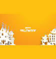 halloween background with haunted house in paper vector image vector image