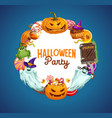 halloween pumpkins trick or treat candies ghosts vector image vector image