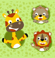 happy animals cartoon on leafs background vector image vector image