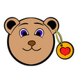 head of a teddy bear with a heart label icon vector image vector image