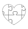 heart with puzzle the black color icon vector image vector image