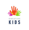 kids creative template logo vector image