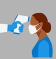 medic measures body temperature woman vector image
