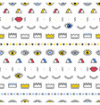 memphis pattern with psychedelic eyes lips and vector image vector image