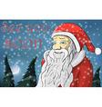 Merry Christmas moon snow Santa Claus Text See you vector image vector image